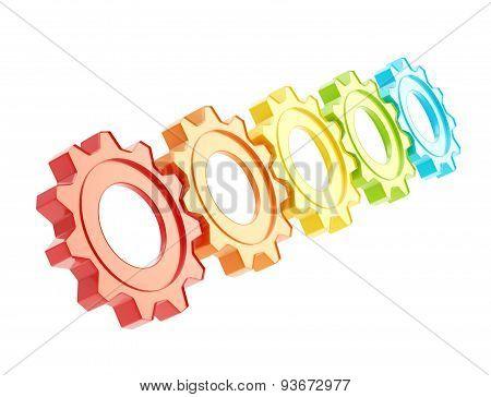 Row of a cogwheel gears