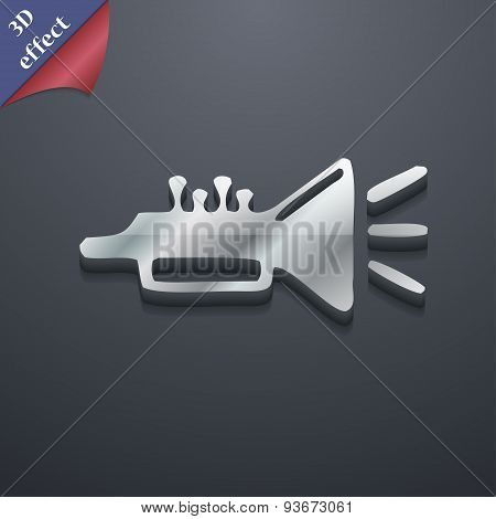 Trumpet, Brass Instrument Icon Symbol. 3D Style. Trendy, Modern Design With Space For Your Text Vect