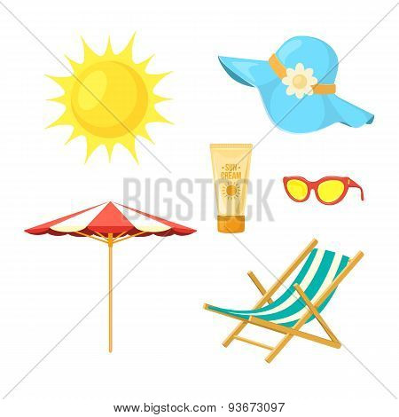 Sun, deck chair, sun protective accessories.