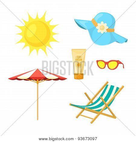 Sun, deck chair, sun protective accessories.
