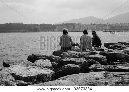 GENEVA, SWITZERLAND - SEPTEMBER 11, 2014: people at Geneva lake. Geneva is the second most populous city in Switzerland and is the most populous city of Romandy.