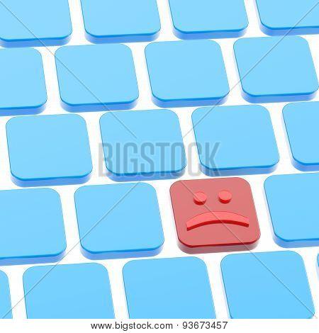 Sad smile keyboard button composition