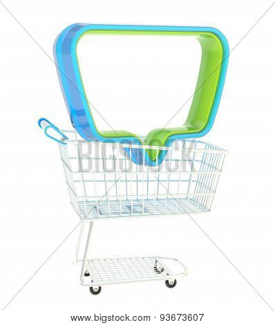 Empty text bubble in a shopping cart