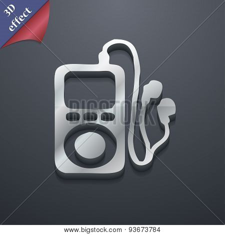 Mp3 Player, Headphones, Music Icon Symbol. 3D Style. Trendy, Modern Design With Space For Your Text