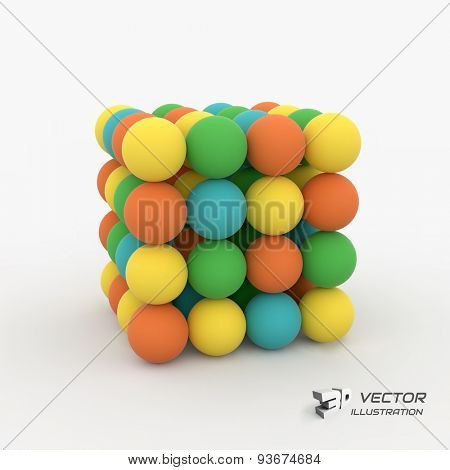 One cube formed by many spheres. 3d vector illustration. Can be used  for business concept, education, presentation.