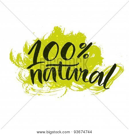 natural striker with handwritten brush calligraphy at green splatter paint background. Eco friendly