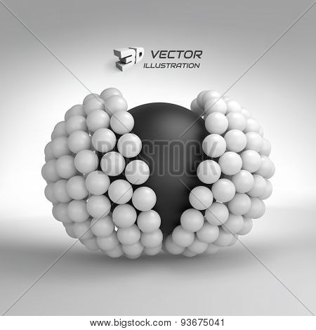 3d vector illustration. Concept for science, technology and network. Can be used for presentations and design.