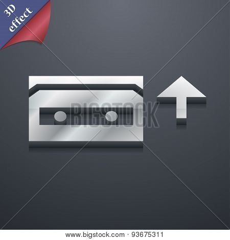 Audio Cassette Icon Symbol. 3D Style. Trendy, Modern Design With Space For Your Text, Vector