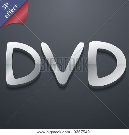 DVD Icon Symbol. 3D Style. Trendy, Modern Design With Space For Your Text, Vector