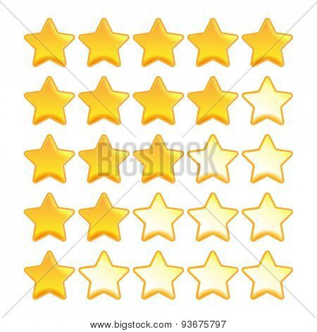 Yellow star rating set