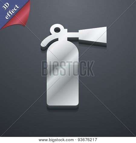 Fire Extinguisher Icon Symbol. 3D Style. Trendy, Modern Design With Space For Your Text, Vector