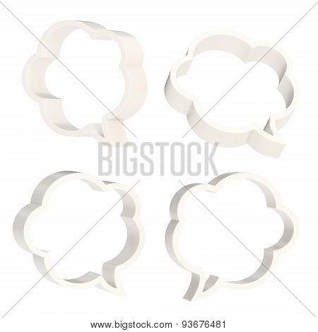 Cloud shaped text bubbles isolated