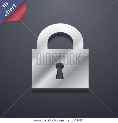 Closed Lock Icon Symbol. 3D Style. Trendy, Modern Design With Space For Your Text Vector