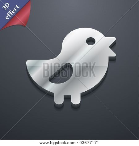 Chicken, Bird Icon Symbol. 3D Style. Trendy, Modern Design With Space For Your Text Vector