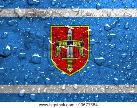 flag of Sibenik-Knin County with rain drops