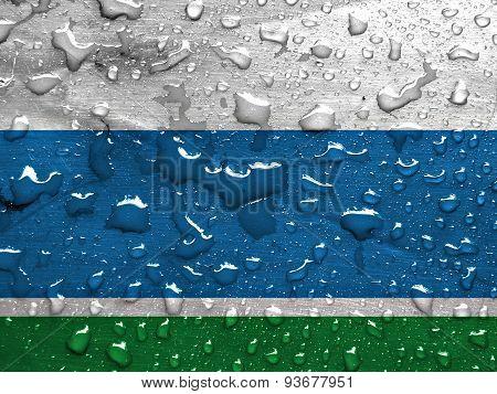 flag of Sverdlovsk Oblast with rain drops