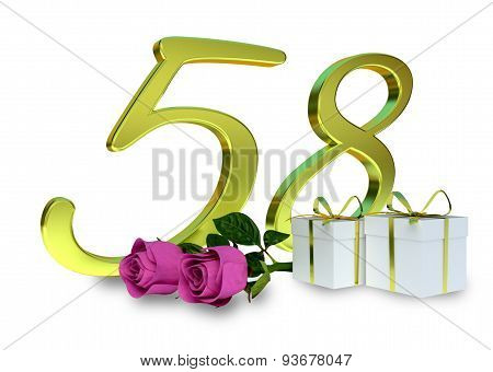 fifty-first birthday concept with pink roses - 58th