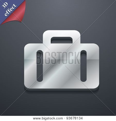 Suitcase Icon Symbol. 3D Style. Trendy, Modern Design With Space For Your Text Vector