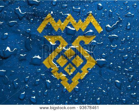 flag of Togliatti with rain drops