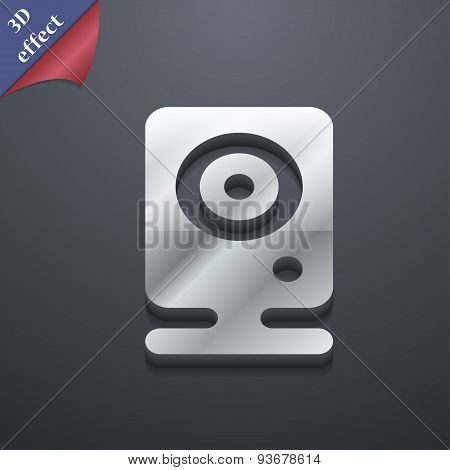 Web Cam Icon Symbol. 3D Style. Trendy, Modern Design With Space For Your Text Vector