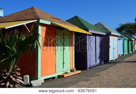 Bright Colorful Caribbean Huts