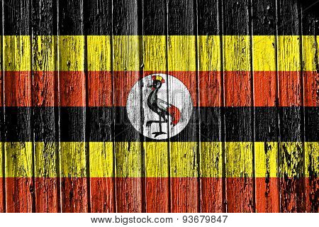 Flag Of Uganda Painted On Wooden Frame
