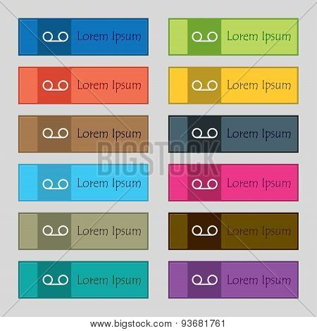 Audio Cassette Icon Sign. Set Of Twelve Rectangular, Colorful, Beautiful, High-quality Buttons For T