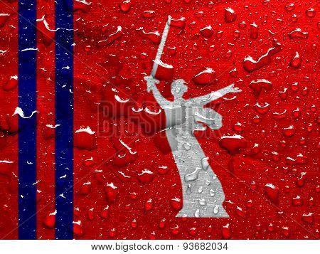 flag of Volgograd Oblast with rain drops