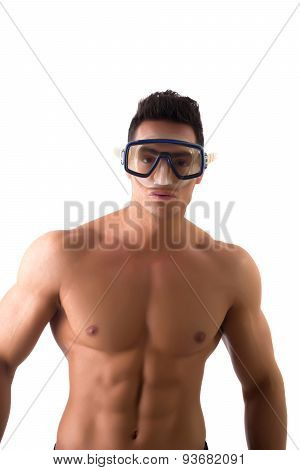 Muscular young man with swimming mask or goggles