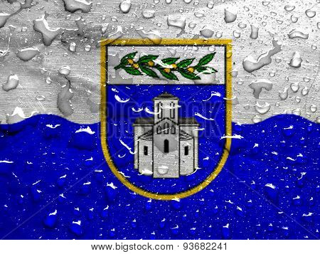 flag of Zadar County with rain drops