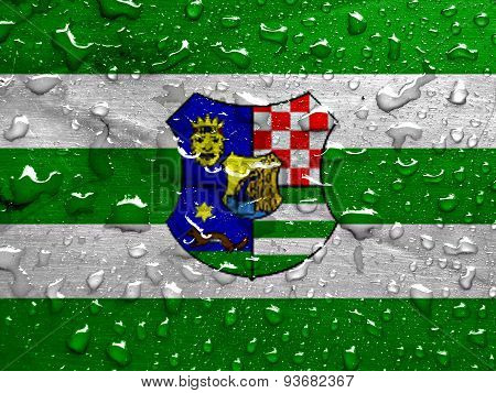 flag of Zagreb County with rain drops