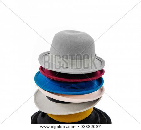 Stacked of hat on white background