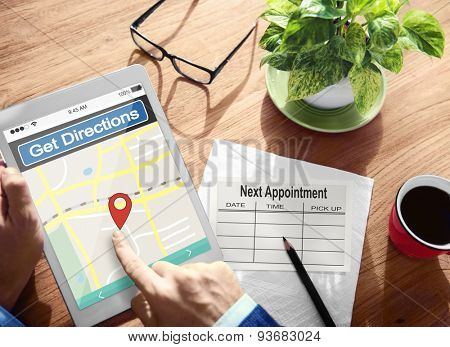 Direction Online Map Travel Expedition Appointment Target Concept