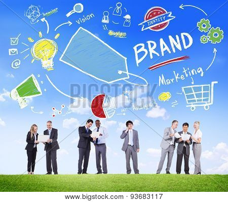 Diverse Business People Meeting Outdoors Marketing Brand Concept