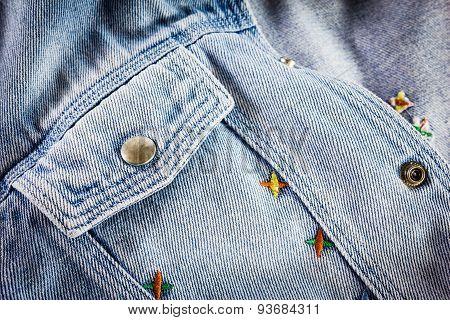 Closeup Detail Of Blue Vintage Denim Jacket