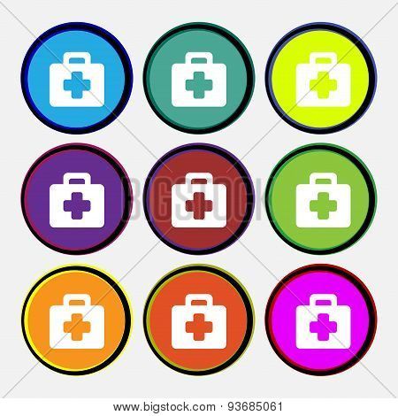 First Aid Kit Icon Sign. Nine Multi Colored Round Buttons. Vector