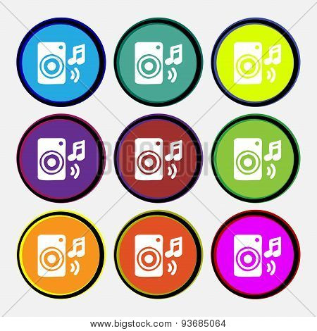 Music Column, Disco, Music, Melody, Speaker Icon Sign. Nine Multi Colored Round Buttons. Vector
