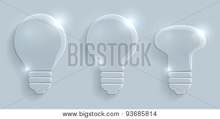 Glass Lightbulbs Set On Grey Background