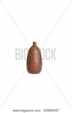 Ceramic Vase Stands Isolated On White Background