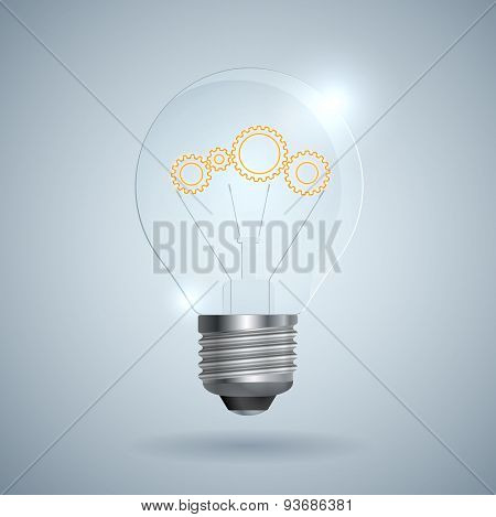 Lightbulb With Gear Sign On A Light Background