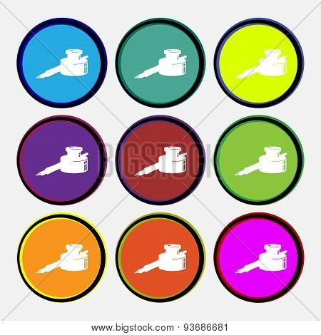 Pen And Ink Icon Sign. Nine Multi Colored Round Buttons. Vector