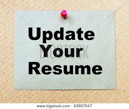 Update Your Resume  Written On Paper Note