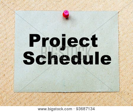 Project Schedule Written On Paper Note