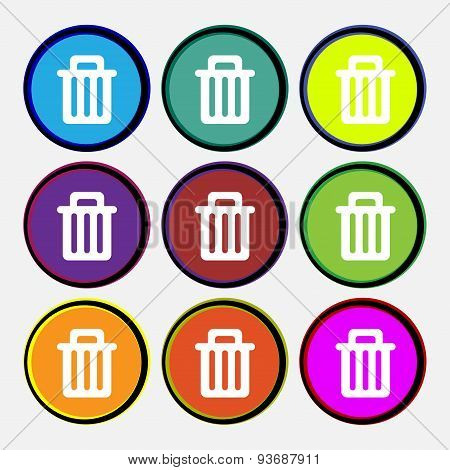 Recycle Bin Icon Sign. Nine Multi Colored Round Buttons. Vector