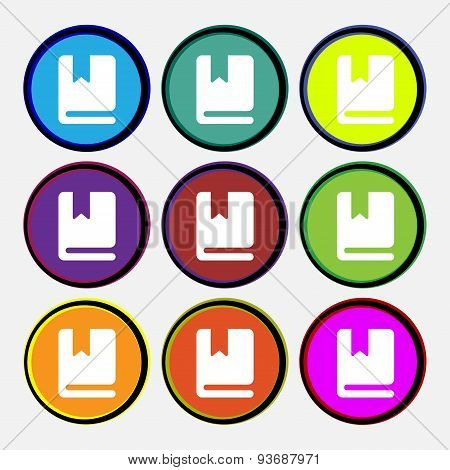 Bookmark Icon Sign. Nine Multi Colored Round Buttons. Vector