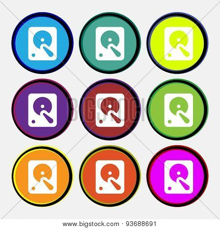 Hard Disk Icon Sign. Nine Multi Colored Round Buttons. Vector