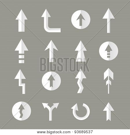 White Flat Design Arrows Collection