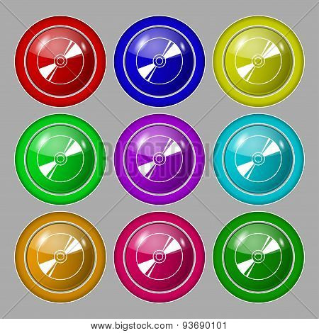 Cd, Dvd, Compact Disk, Blue Ray Icon Sign. Symbol On Nine Round Colourful Buttons. Vector