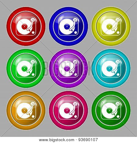Gramophone, Vinyl Icon Sign. Symbol On Nine Round Colourful Buttons. Vector