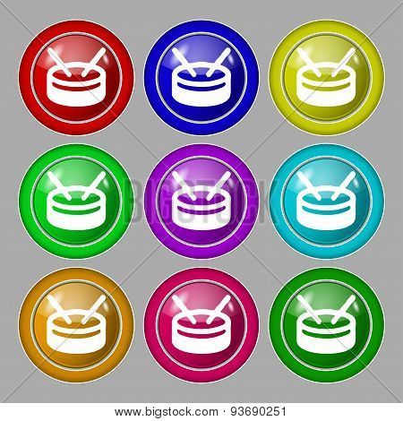 Drum Icon Sign. Symbol On Nine Round Colourful Buttons. Vector